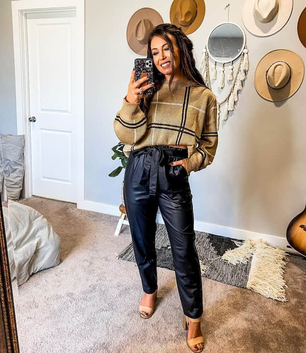 Jumper with Leather Pant and Heels