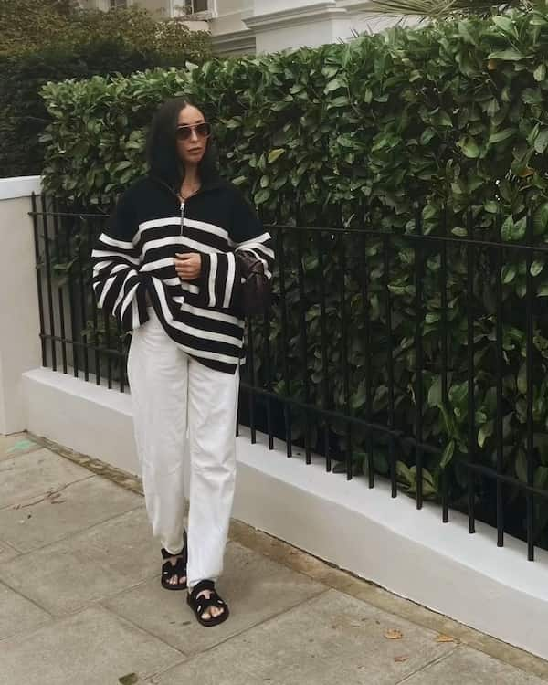 Jumper with White Pants and Slide Sandals + Sunglasses
