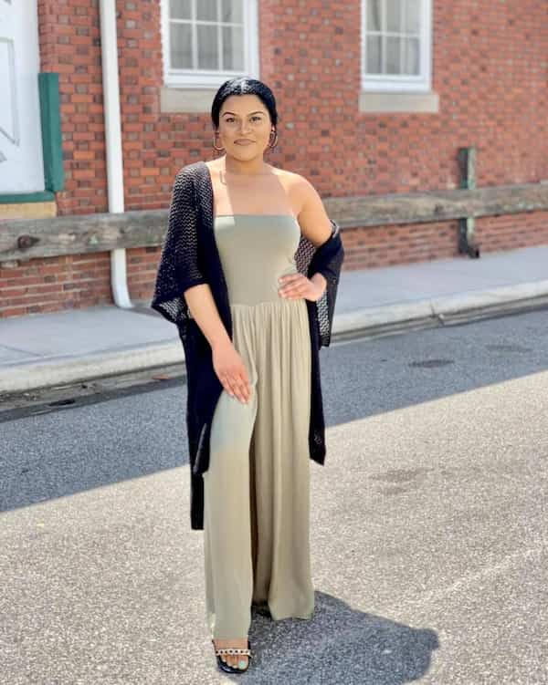 Jumpsuit with Cardigan and Heels