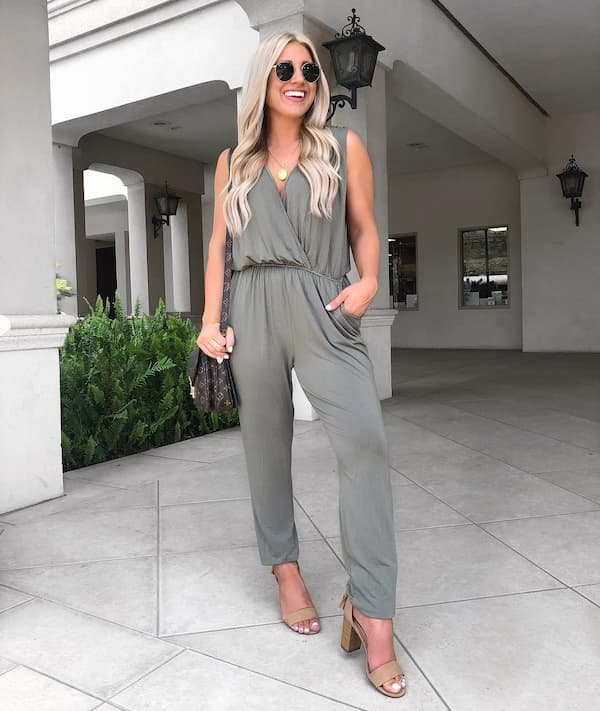 Jumpsuit with Heels and Bag + Sunglasses