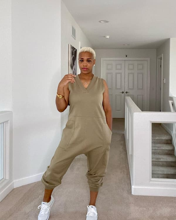 Khaki Sleeveless Jumpsuit with Sneakers