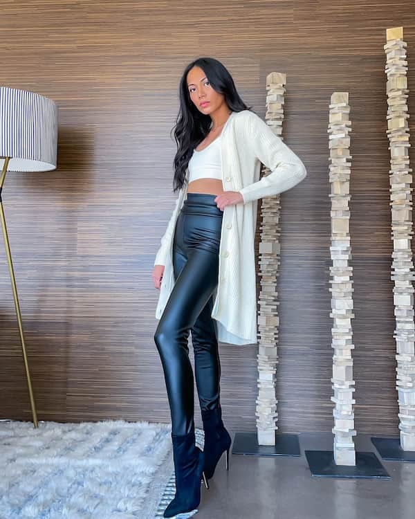 Knee Lenght Cardigan + Petite Vest with High Waist Leather Pants and Heel Boots
