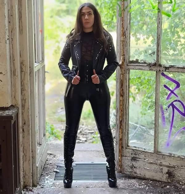 Leather Jacket with Black Inner Shirt and High Waist Leather Pants + Heel Shoes