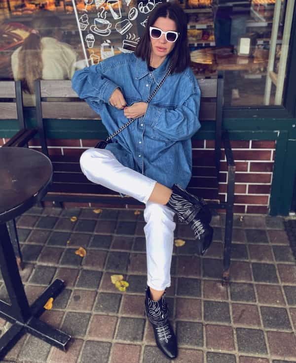 Oversize Denim Jacket with White Pants + Black Shoes and Sunglasses