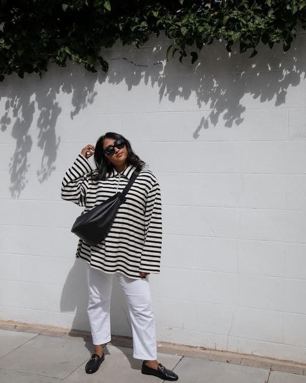 Oversize Shirt with White Pants and Loafers + Body-cross Bag + Sunnies