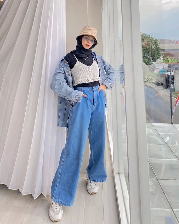 Oversized Denim Jacket with Baggy Trousers and Sneakers