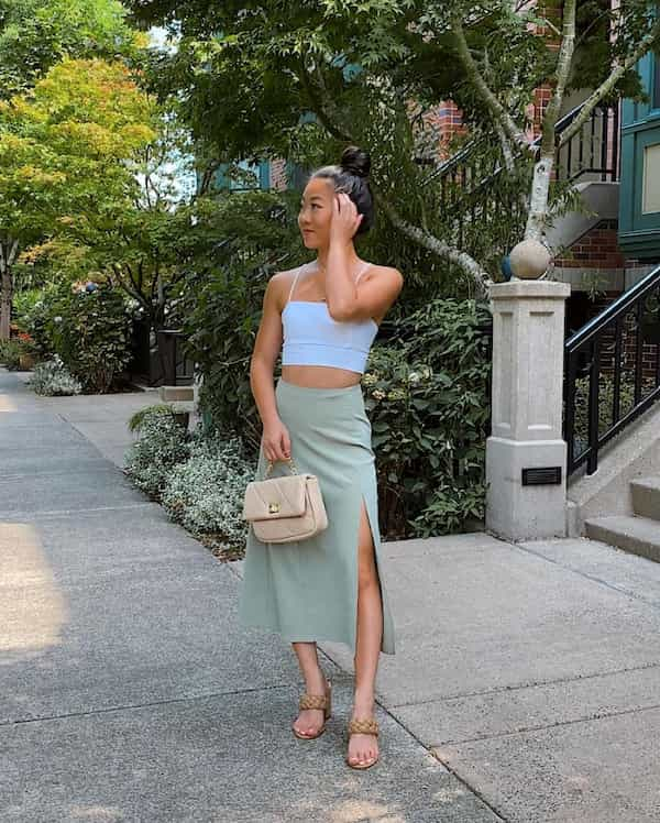 Petite Crop Top with Slit Midi Skirt + Chic Bag and Heel Shoes
