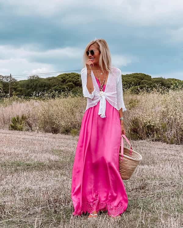Pink Long Baggy Gown + White Blouse + Sunglasses + Basket Bag