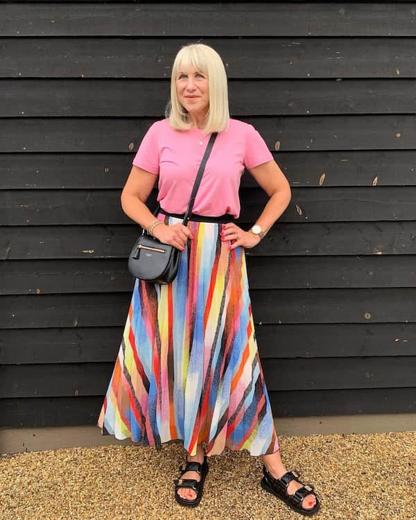 Pleats Midi Skirt with Pink Top + Sandals and Chic Bag