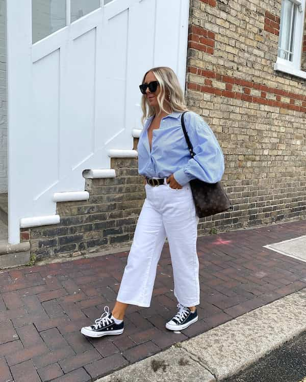Puff Sleeve Shirt with Wide Leg White Jeans and Converse Shoes + Handbag + Sunglasses