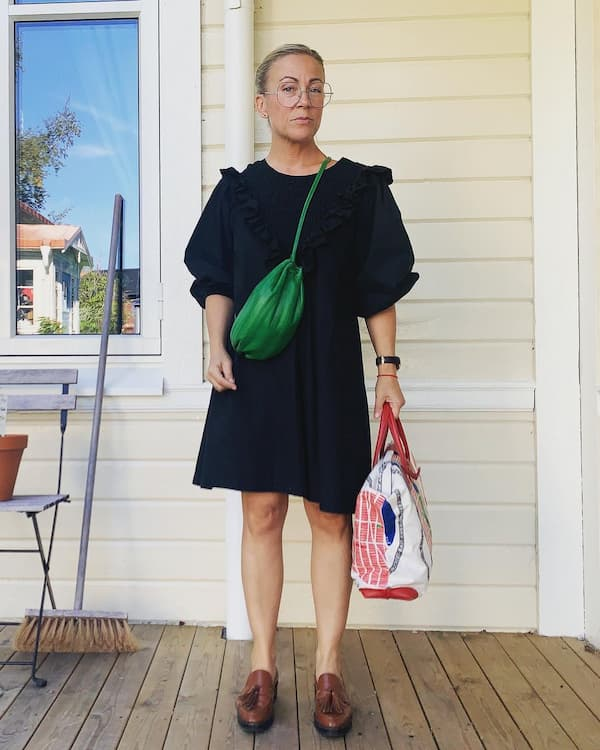15.Puffed Up Shoulder Black Gown + Loafers