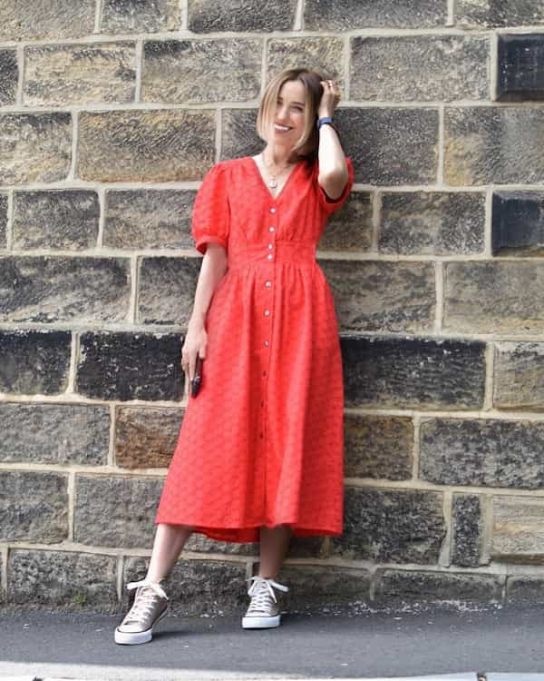 Red Gown Dress + Converse Trainers