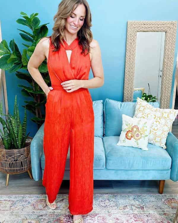 Red Sleeveless Jumpsuit with Heel Shoes