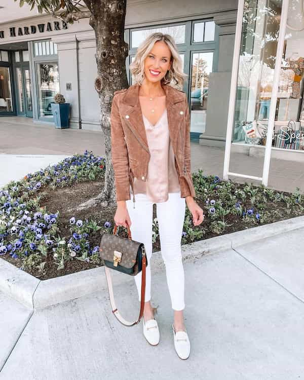 Satin Cami + White Jeans with Brown Jacket and Loafers + Handbag