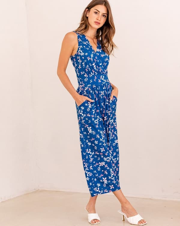 Silky Floral Blue Sleeveless Jumpsuit with Mid Heels