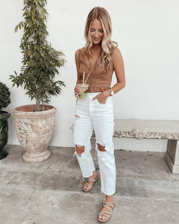 Sleeveless Top with Ripped White Jeans and Slide Sandals + Sling Bag