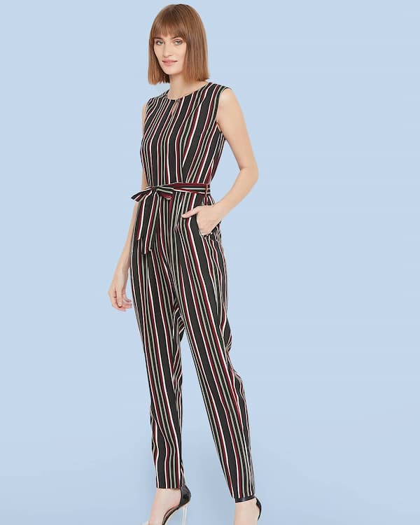 Striped Sleeveless Jumpsuit with Pumps