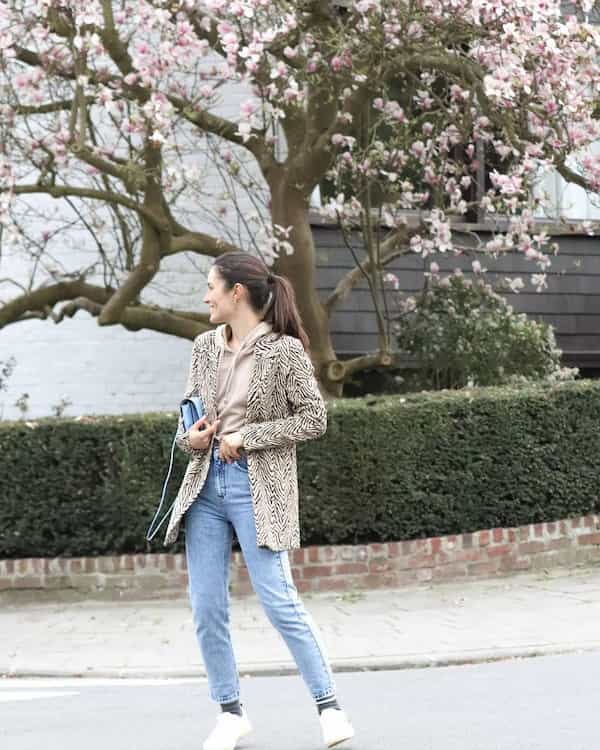 Sweater + Animal Skin Jacket with Light Blue Jeans and Sneakers