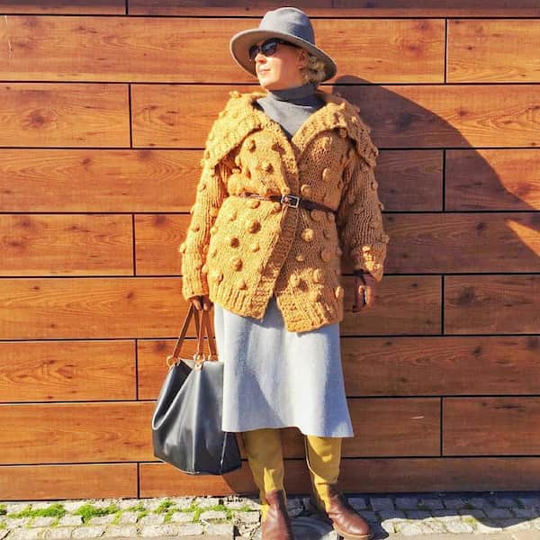 Sweater +  Gown + Hat + Boots + Sunglasses