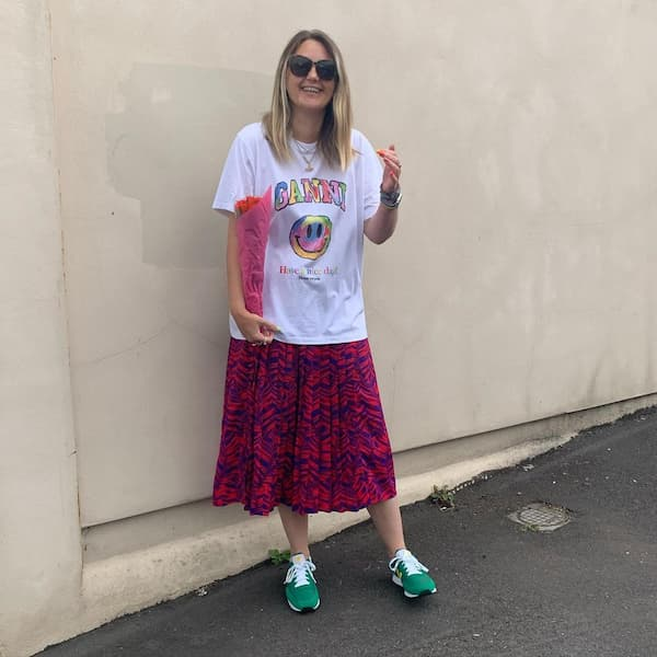 T-Shirt + Floral Skirt + Trainers