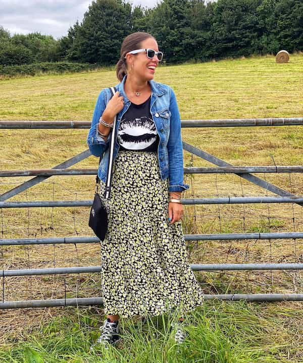 Tee + Midi Floral Gown with Denim Jacket and Trainers + Chic Bag + Sunglasses