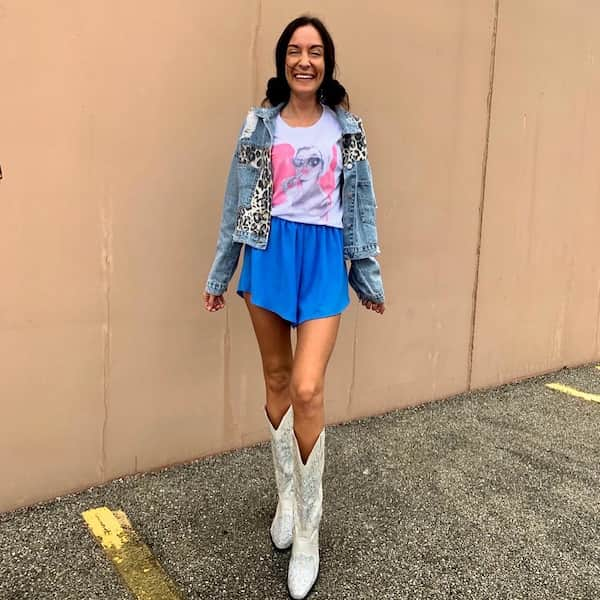 Tee with Loose Blue Shorts and Denim Jacket + Boots