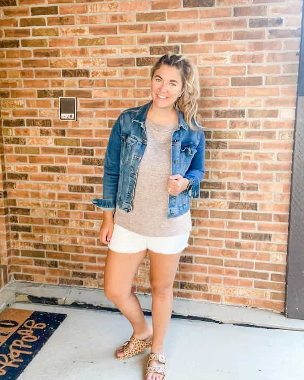 Tee with White Shorts and Denim Jacket + Sandals