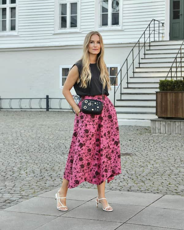 Tiger Midi Skirt with Sleeveless Top + Heels and Chic Bag