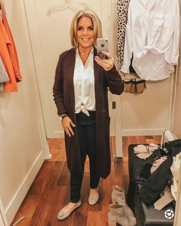 Trench Cardigan + White Centered Buttoned Shirt + Black Pants + Flat Shoes