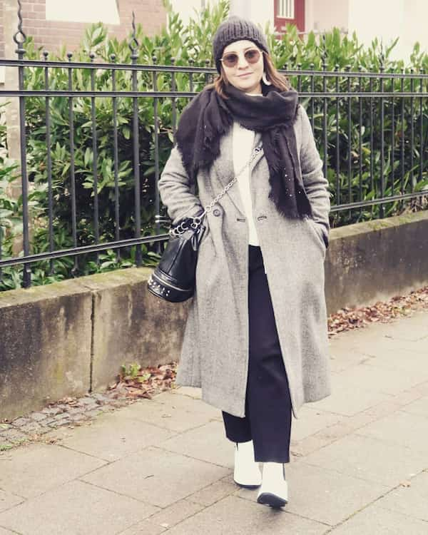 Trench Coat + White Top + Black Pant + Head Warmer + Shoes + Sunglasses