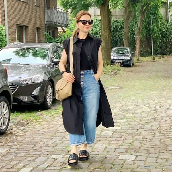 Trench Jacket + Black Top + Jeans Trouser + Slippers + Sunglasses