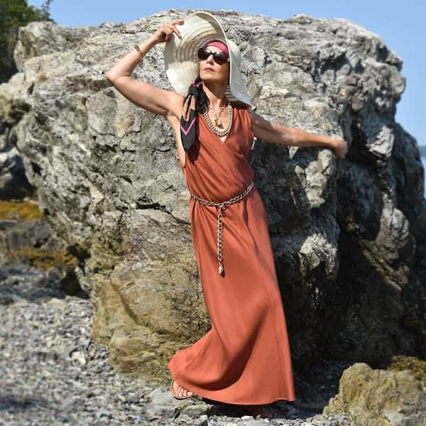 V-Necked Long Brown Gown + Hat + Sunglasses + Scarf + Flat Slippers