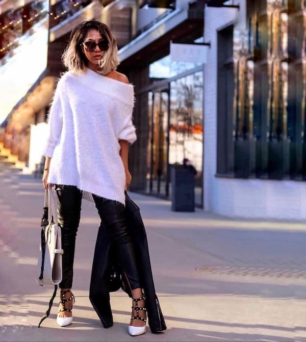 White Jumper with Leather Pants and Heels + Handbag + Sunglasses