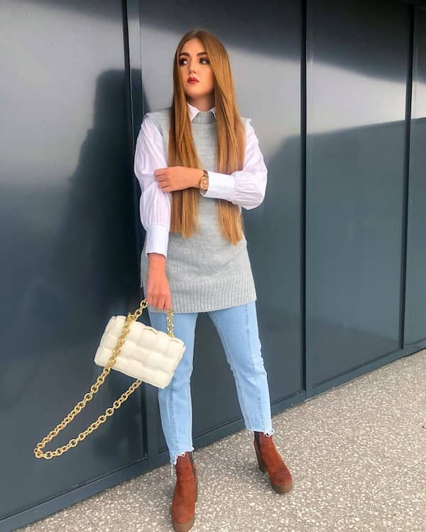 White Long Sleeve + Sleeveless Jumper with Jeans and Heel Boots + Bag