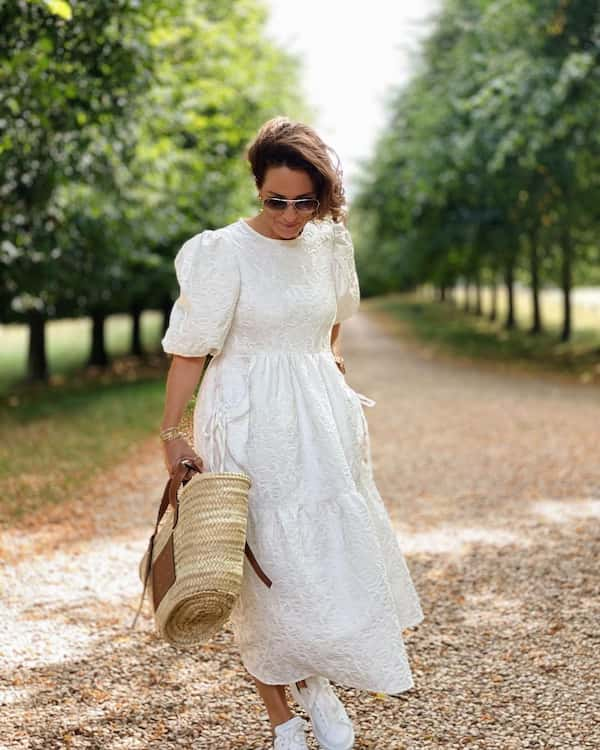 WhitePuffed Up Gown + Trainers + Basket Bag + Sunglasses