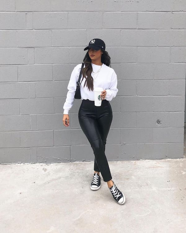 White Sweater with Leather Pants and Converse Shoes + Face Cap