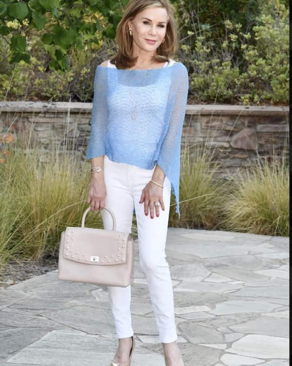 White Tank Top, Blue Shawl with White Jeans and Heel Shoes + Handbag