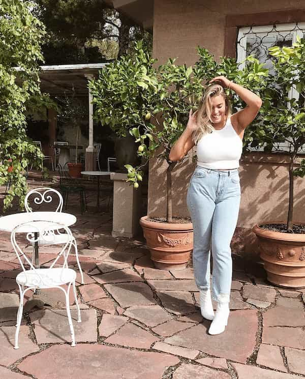White Tank Top with Light Blue Jeans and White Heels