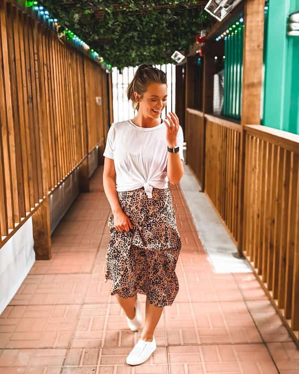 White Tee with Floral Midi Skirt and Sneakers