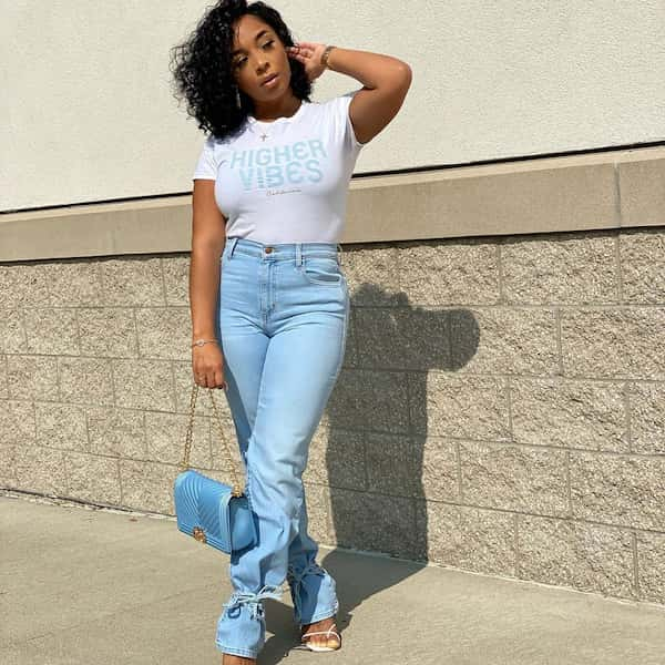 White Top with High Waist Light Blue Jeans and Chic Bag + Heeled Sandals