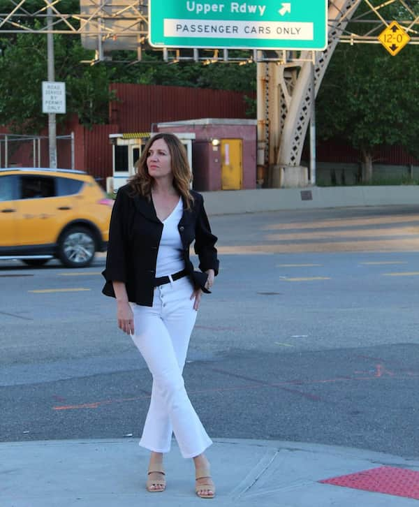 White Vest with White Jeans and Black Jacket + Heels