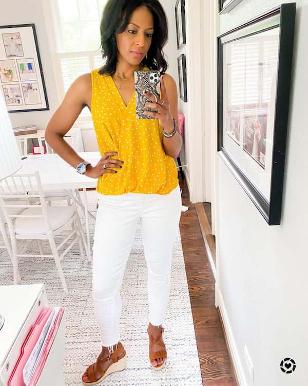 Yellow Sleevless Blouse with White Jeans and Mid Heel Sandals